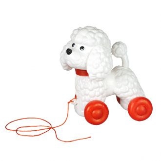 Pull-along Dog Poodle (red)