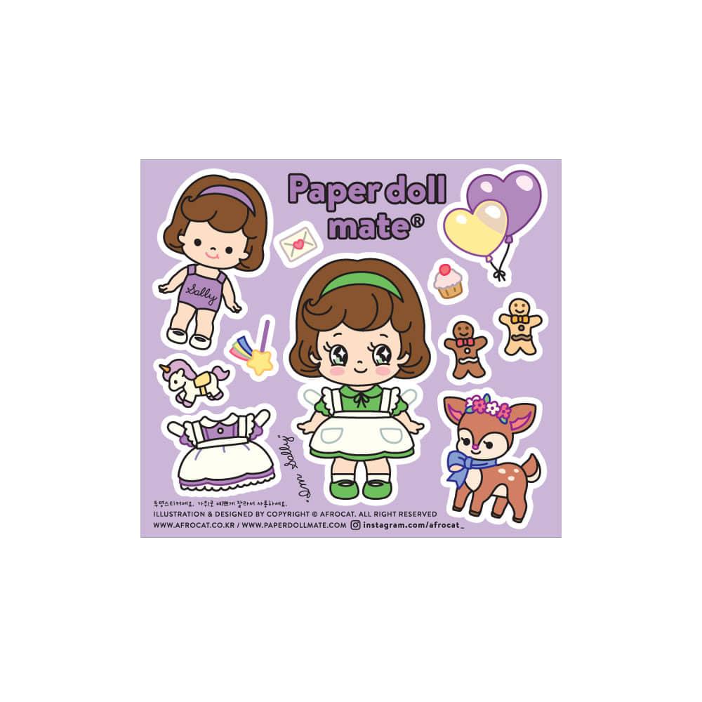 [아프로캣] afrocat factory sticker.14_페이퍼돌메이트 미니미 샐리
