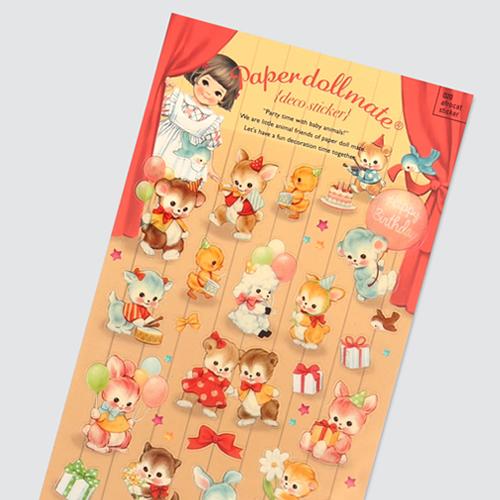 [아프로캣]afrocat sticker 020 paper doll mate deco sticker ver.party time